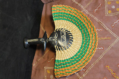 Wood Carved Hand Fan Doll
