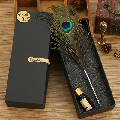 Peacock Feather Quill Dip Pen Set Handle With Box Stainless Steel Gift NEW