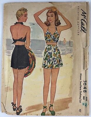 1940s Mccall sewing pattern 5648 2 piece Bathing Suit Bust 32