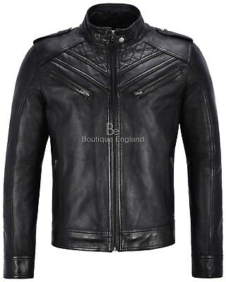 Mens Leather Jacket BLACK BIKER QUILTED ITALIAN REAL LEATHER CELEBRITY JACKET