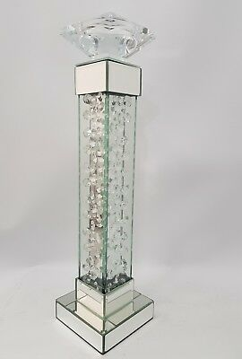 Sparkly Mirrored Floating Crystal Silver Candle Holder Tall 47cm