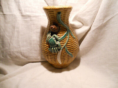 Antique/Vintage Chinese Majolica wall pocket vase crab basket stamped bargain
