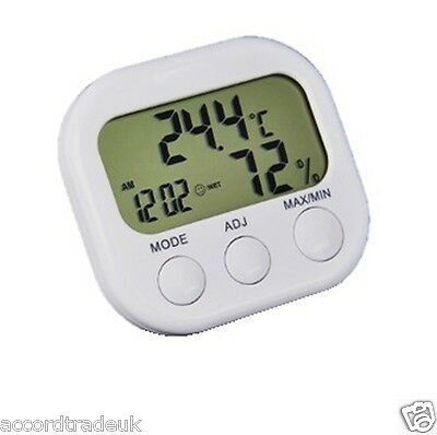 Digital LCD Indoor Thermometer Hygrometer Clock Temperature Humidity Meter Gauge