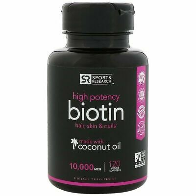 SPORTS RESEARCH - Biotin with Organic Coconut Oil - 5000 or 10,000 mcg 120 Caps