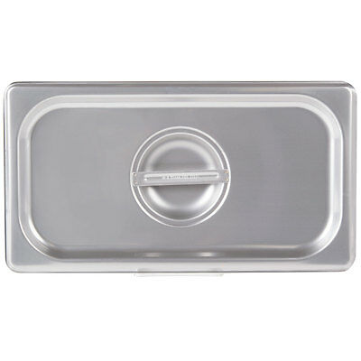 (6-Pack) 1/3 Size Solid Stainless Steel Silver Steam Table / Hotel Pan Lid Cover