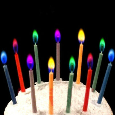 Birthday Cake Candles With Colored Flames 12 Pcs Style Relighting Colorful