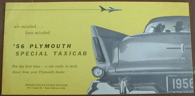 Old Original Sales Brochure 1956 Plymouth Special Taxicab Very Rare
