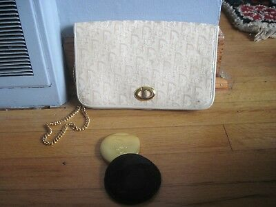 Authentic Vintage Christian Dior Signature Shoulder Clutch Purse ~CREME~