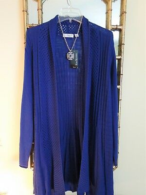 Womens Plus 1X  Cardigan Sweater Jacket Royal  Blue open front shawl collar NWT
