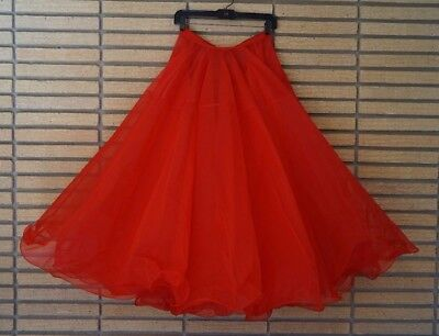 Sheer Red Salsa Tango Cha Cha Ballroom Dance Long Full Skirt