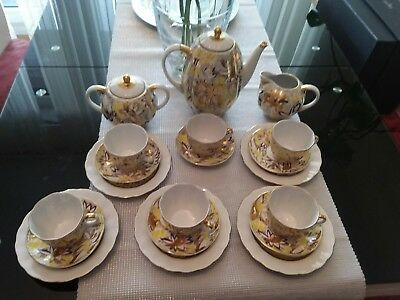 Lomonosov-St. Petersburg   Kaffeservice Golden Garden   Gelb- Gold Blumen Decor