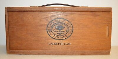Vintage NAPA VALLEY BOX Co. 12 Slot Wood Cassette Carrying Case - Made in U.S.A.