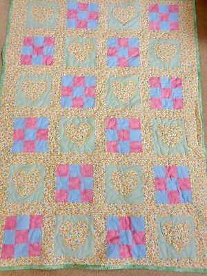 """BOY/GIRL  CRIB / LAP QUILT, WALL HANGER MACHINE QUILTED 35"""" x 47"""":NEW"""