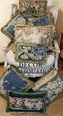 Antique French Aubusson Verdure Pillow 17th Century  Tapestry Cushion Flowers