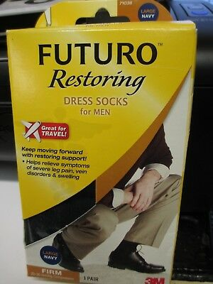Futuro Restoring Dress Socks for Men. Size Large. Navy. Firm 71036
