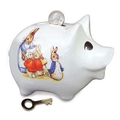 Peter Rabbit Piggy Bank w Lock by Reutter Porcelain of Germany EASTER GIFT
