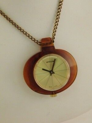 Endura Winder Watch On Chain Lucite Necklace Keeps Time Swiss Made