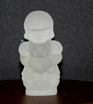Goebel Germany Frosted  Crystal Girl With Teddy Bear Figurine