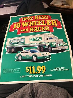 1992 HESS DEALER DISPLAY 18inchx14inches  18 WHEELER AND RACER POSTER,