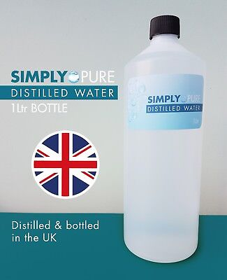 Pure distilled water, food grade, HDPE bottled, 1 litre, steam distilled