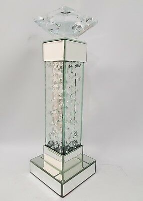 Floating Crystal Silver Mirrored Decorative Candle Holder Square Height 37cm