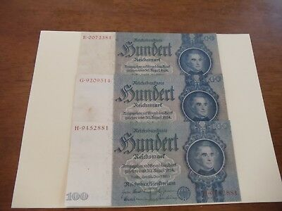 German 100 Reichsmark 1935 Nazi era large bank note, three circulated notes