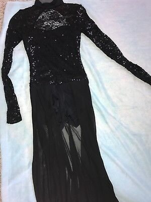 Black long sleeve/ leotard style contemporary costume, long skirt attached.