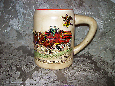 Budweiser Clydesdales CS19 1980 1st Christmas Holiday Beer Stein Mug (2 availab)