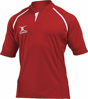 Clearance Line New 2014 Gilbert Rugby Xact Shirt Red - Various Sizes