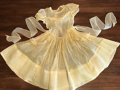 Vintage 1950's Girls Sheer Yellow Party Dress
