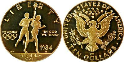 1984-W $10 Olympic Torch Gold Commemorative Coin ** Pcgs Pr69Dc ** True Auction!