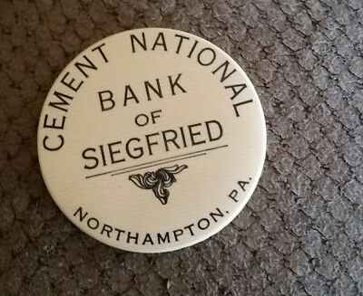 Vintage Celluloid Advertising Pocket Mirror ~ CEMENT BANK OF SIEGFRIED...PA.