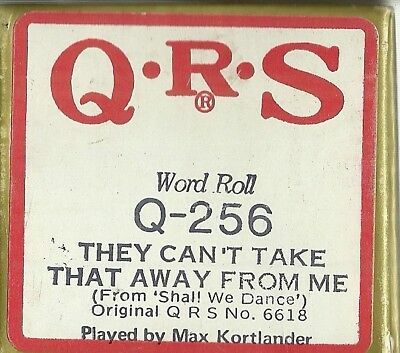 They Can't Take That Away from Me PB Max Kortlander QRS 6618 Piano Roll rct Q256