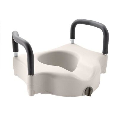 Adjustable Elevated Toilet Seat w/ 2 Padded Arms Supports up to 300lbs. Capacity