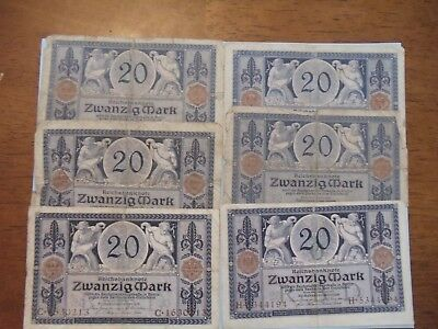 German 20 Mark 1915 Imperial Empire era large bank notes, six circulated notes