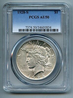 1928 S Peace Silver Dollar -- PCGS AU 50 -- Free Shipping in USA!