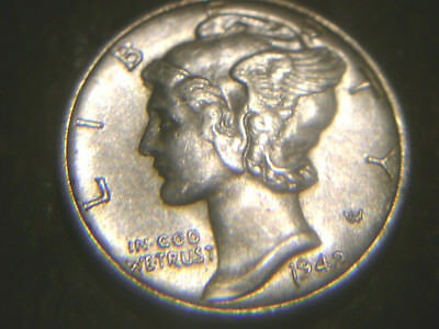 1942-S Mercury In Au/unc Condition.rare.add To Set Or Collection.high Grade.