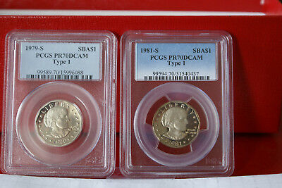 "1979 S And 1981 S Pcgs Pr 70 Dcam ""type 1"" Susan B. Anthony Dollars--Both Coins"