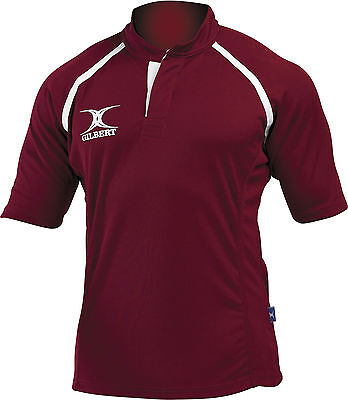 Clearance Line New Gilbert Rugby Xact Shirt Maroon- Various Sizes
