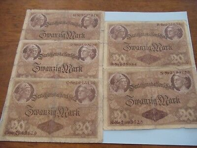 German 20 Mark 1914 Imperial Empire era ornate bank notes five circulated notes