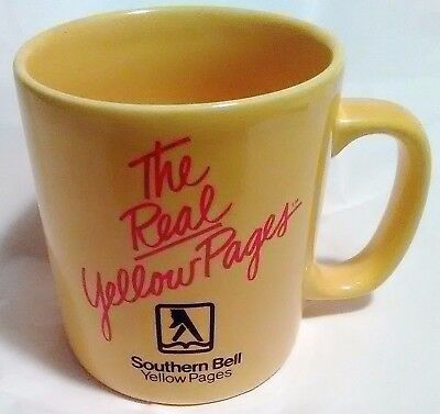 VTG The Real Yellow Pages Coffee Mug Southern Bell Kilncraft UK Gold Cup