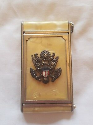WWII Military Sweetheart Compact Girey Faux Mother of Pearl Vintage 40's