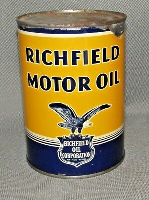 Rare Vintage Richfield Motor Oil Can Eagle Can Full