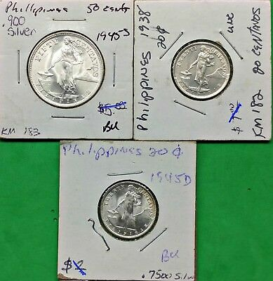 3 Different Philippines BU Silver Coins 1938-45 US Administration Super Nice !!