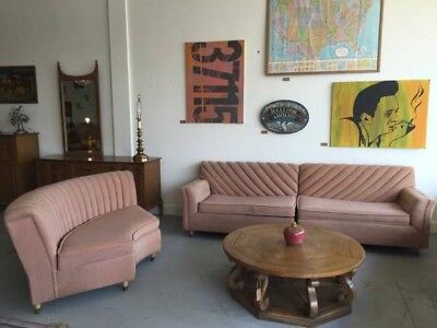 1950s Mid Century Vintage Pink Couch Sofa Sectional