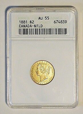 1881 Newfoundland $2 Two Dollar Gold ANACS AU55