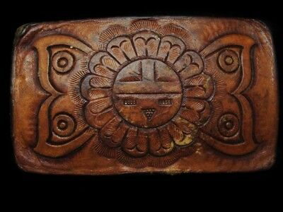 LI09154 GREAT VINTAGE 1970s **TRADITIONAL SOUTHWESTERN DESIGN** LEATHER BUCKLE