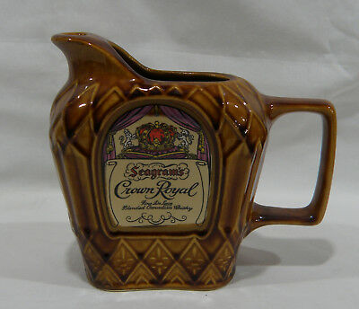 Vintage Seagram's Crown Royal Whiskey Pottery Pitcher Pub Jug