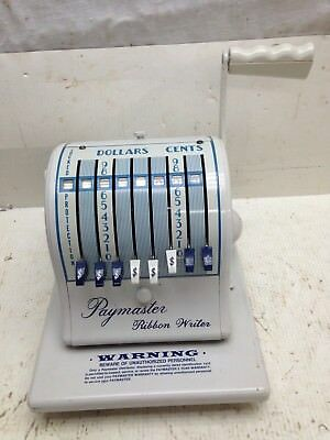 Vtg. Office Check Printer Paymaster Ribbon  Writer Series 8000 B Works  w/ KEY