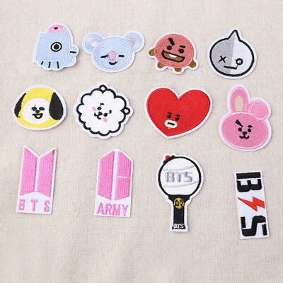 Kpop BTS Embroidery Badge Iron On Sew On Patches Clothing Applique Accessories